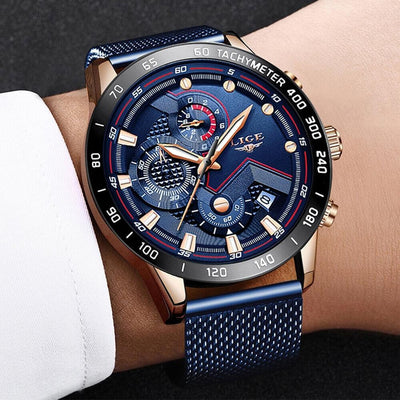 Blue Casual Mesh Belt Wristwatch Military Sport Police Watch Men Gift