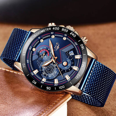 BigProStore Blue Casual Mesh Belt Wristwatch Military Sport Police Watch Men Gift Blue Gold Wristwatch
