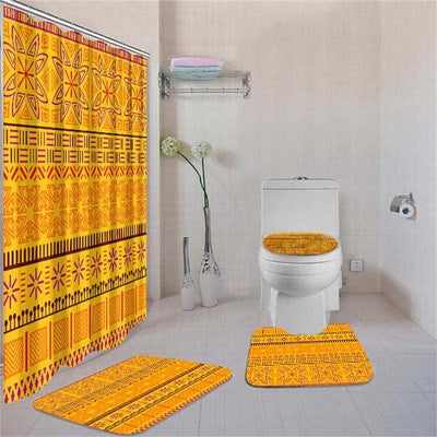 BigProStore Abstract African Themed Afrocentric Art Shower Curtain Set 4pcs Modern Afrocentric Bathroom Accessories BPS3657 Standard (180x180cm | 72x72in) Bathroom Sets