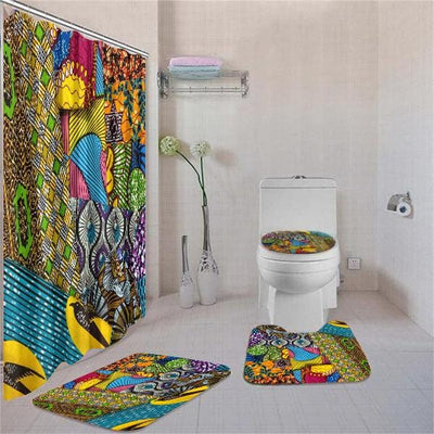 BigProStore Abstract Afro American Ethnic Seamless Pattern Shower Curtain Bathroom Set 4pcs Trendy African Bathroom Decor BPS3199 Standard (180x180cm | 72x72in) Bathroom Sets