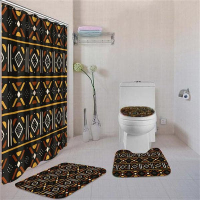 BigProStore Adorable African Inspired Ethnic Seamless Pattern Bathroom Shower Curtain Set 4pcs Modern African Bathroom Accessories BPS3631 Standard (180x180cm | 72x72in) Bathroom Sets