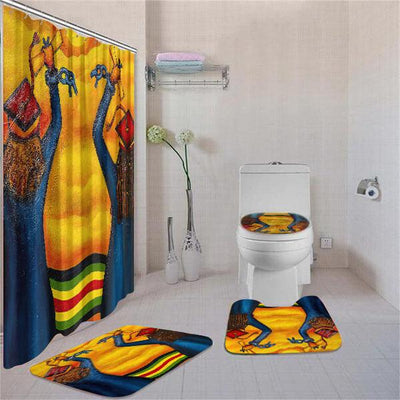 BigProStore Adorable African Print Safari Animals Shower Curtain Set 4pcs Modern African Bathroom Decor BPS3017 Standard (180x180cm | 72x72in) Bathroom Sets