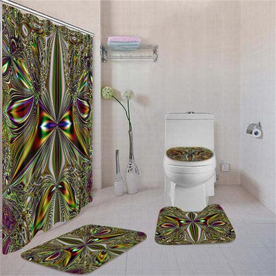 BigProStore Adorable Black History Month Afrocentric Pattern Art Shower Curtain Set 4pcs Cool Afrocentric Bathroom Accessories BPS3391 Standard (180x180cm | 72x72in) Bathroom Sets
