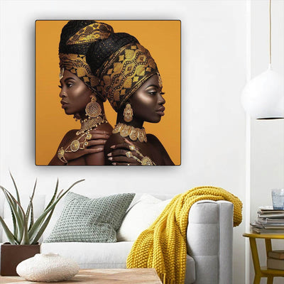 "BigProStore African American Canvas Art Beautiful African American Woman Afro American Art Afrocentric Decor BPS32680 12"" x 12"" x 0.75"" Square Canvas"