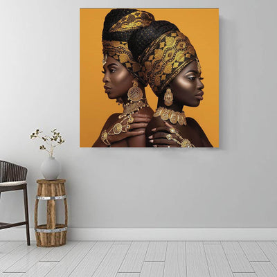 "BigProStore African American Canvas Art Beautiful African American Woman Afro American Art Afrocentric Decor BPS32680 16"" x 16"" x 0.75"" Square Canvas"
