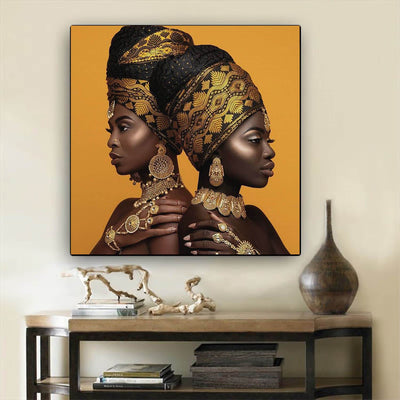 "BigProStore African American Canvas Art Beautiful African American Woman Afro American Art Afrocentric Decor BPS32680 24"" x 24"" x 0.75"" Square Canvas"