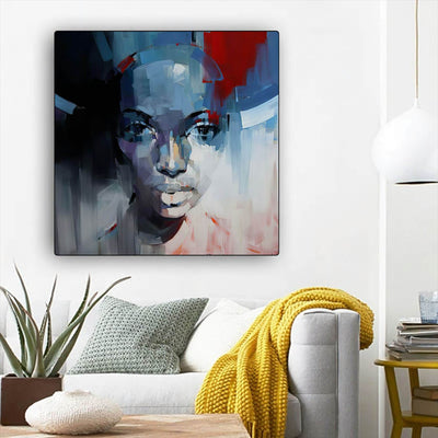 "BigProStore African American Canvas Art Beautiful Afro American Woman Abstract African Wall Art Afrocentric Home Decor BPS70617 12"" x 12"" x 0.75"" Square Canvas"