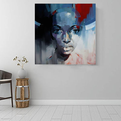 "BigProStore African American Canvas Art Beautiful Afro American Woman Abstract African Wall Art Afrocentric Home Decor BPS70617 16"" x 16"" x 0.75"" Square Canvas"