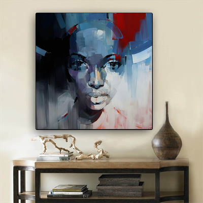 "BigProStore African American Canvas Art Beautiful Afro American Woman Abstract African Wall Art Afrocentric Home Decor BPS70617 24"" x 24"" x 0.75"" Square Canvas"