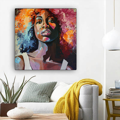 "BigProStore African American Canvas Art Beautiful Black Afro Girls African American Women Art Afrocentric Living Room Ideas BPS60818 12"" x 12"" x 0.75"" Square Canvas"