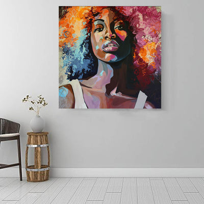 "BigProStore African American Canvas Art Beautiful Black Afro Girls African American Women Art Afrocentric Living Room Ideas BPS60818 16"" x 16"" x 0.75"" Square Canvas"