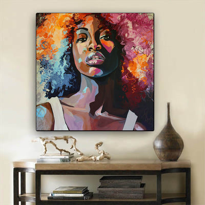 "BigProStore African American Canvas Art Beautiful Black Afro Girls African American Women Art Afrocentric Living Room Ideas BPS60818 24"" x 24"" x 0.75"" Square Canvas"