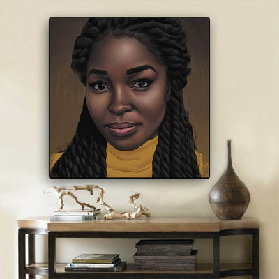 "BigProStore African American Canvas Art Beautiful Black American Woman African American Canvas Wall Art Afrocentric Home Decor Ideas BPS46527 12"" x 12"" x 0.75"" Square Canvas"