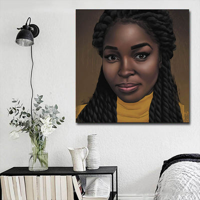 "BigProStore African American Canvas Art Beautiful Black American Woman African American Canvas Wall Art Afrocentric Home Decor Ideas BPS46527 16"" x 16"" x 0.75"" Square Canvas"
