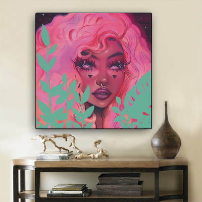 "BigProStore African American Canvas Art Beautiful Melanin Girl Afro American Art Afrocentric Home Decor Ideas BPS39808 12"" x 12"" x 0.75"" Square Canvas"