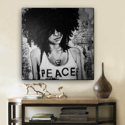 "BigProStore African American Canvas Art Beautiful Melanin Poppin Girl African American Black Art Afrocentric Wall Decor BPS45835 12"" x 12"" x 0.75"" Square Canvas"