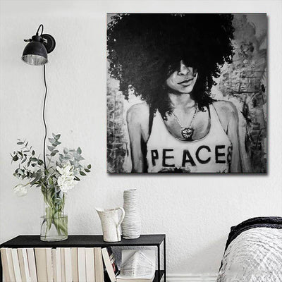 "BigProStore African American Canvas Art Beautiful Melanin Poppin Girl African American Black Art Afrocentric Wall Decor BPS45835 16"" x 16"" x 0.75"" Square Canvas"