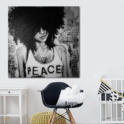 "BigProStore African American Canvas Art Beautiful Melanin Poppin Girl African American Black Art Afrocentric Wall Decor BPS45835 24"" x 24"" x 0.75"" Square Canvas"