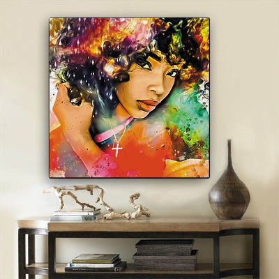 "BigProStore African American Canvas Art Beautiful Melanin Poppin Girl African American Prints Afrocentric Decorating Ideas BPS85229 12"" x 12"" x 0.75"" Square Canvas"