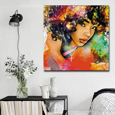 "BigProStore African American Canvas Art Beautiful Melanin Poppin Girl African American Prints Afrocentric Decorating Ideas BPS85229 16"" x 16"" x 0.75"" Square Canvas"