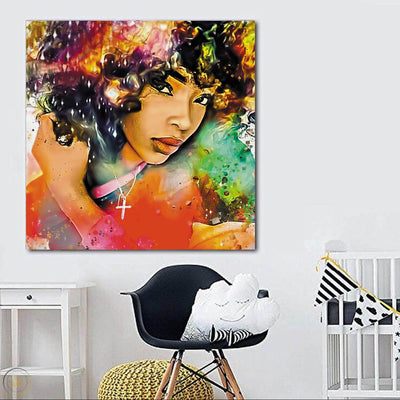 "BigProStore African American Canvas Art Beautiful Melanin Poppin Girl African American Prints Afrocentric Decorating Ideas BPS85229 24"" x 24"" x 0.75"" Square Canvas"