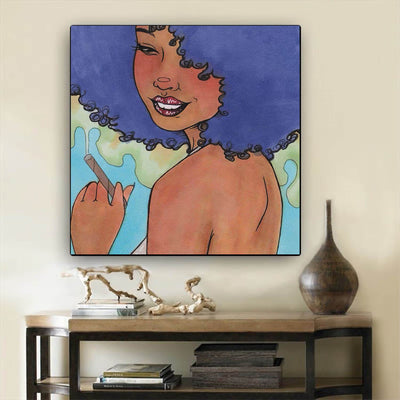 "BigProStore African American Canvas Art Cute African American Female African American Abstract Art Afrocentric Home Decor Ideas BPS51380 12"" x 12"" x 0.75"" Square Canvas"