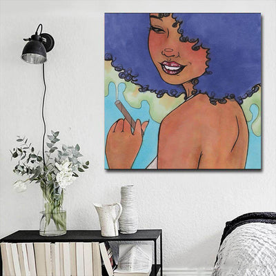 "BigProStore African American Canvas Art Cute African American Female African American Abstract Art Afrocentric Home Decor Ideas BPS51380 16"" x 16"" x 0.75"" Square Canvas"