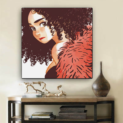 "BigProStore African American Canvas Art Cute African American Female Black History Canvas Art Afrocentric Decorating Ideas BPS27213 12"" x 12"" x 0.75"" Square Canvas"
