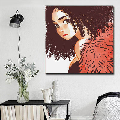"BigProStore African American Canvas Art Cute African American Female Black History Canvas Art Afrocentric Decorating Ideas BPS27213 16"" x 16"" x 0.75"" Square Canvas"