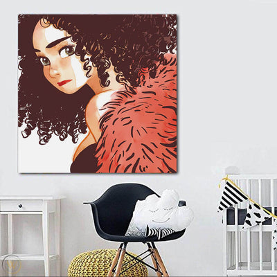 "BigProStore African American Canvas Art Cute African American Female Black History Canvas Art Afrocentric Decorating Ideas BPS27213 24"" x 24"" x 0.75"" Square Canvas"