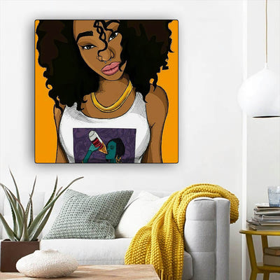"BigProStore African American Canvas Art Cute African American Woman African Canvas Wall Art Afrocentric Decor BPS87177 12"" x 12"" x 0.75"" Square Canvas"