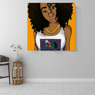 "BigProStore African American Canvas Art Cute African American Woman African Canvas Wall Art Afrocentric Decor BPS87177 16"" x 16"" x 0.75"" Square Canvas"
