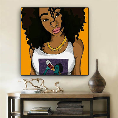 "BigProStore African American Canvas Art Cute African American Woman African Canvas Wall Art Afrocentric Decor BPS87177 24"" x 24"" x 0.75"" Square Canvas"