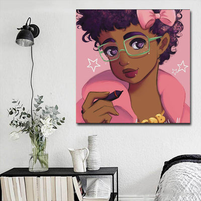 "BigProStore African American Canvas Art Cute Afro Girl African Canvas Afrocentric Living Room Ideas BPS12049 16"" x 16"" x 0.75"" Square Canvas"