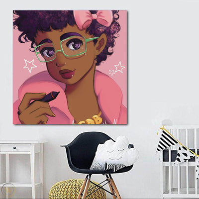 "BigProStore African American Canvas Art Cute Afro Girl African Canvas Afrocentric Living Room Ideas BPS12049 24"" x 24"" x 0.75"" Square Canvas"