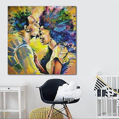 "BigProStore African American Canvas Art Cute Black Afro Girls Abstract African Wall Art Afrocentric Home Decor BPS50257 24"" x 24"" x 0.75"" Square Canvas"