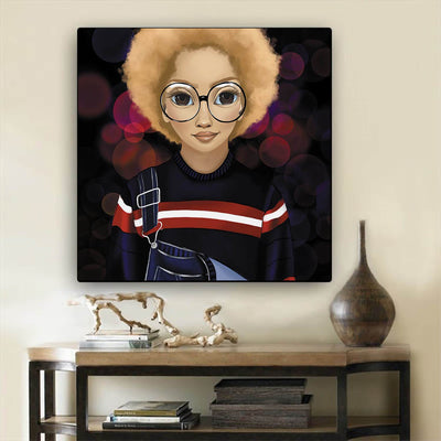 "BigProStore African American Canvas Art Cute Black Afro Girls African American Wall Art And Decor Afrocentric Decor BPS30068 12"" x 12"" x 0.75"" Square Canvas"