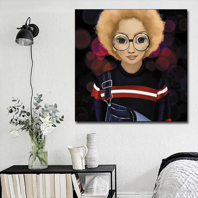 "BigProStore African American Canvas Art Cute Black Afro Girls African American Wall Art And Decor Afrocentric Decor BPS30068 16"" x 16"" x 0.75"" Square Canvas"