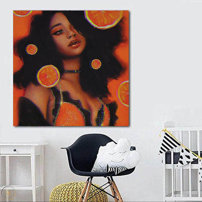 "BigProStore African American Canvas Art Cute Black Afro Lady African Black Art Afrocentric Decorating Ideas BPS76040 24"" x 24"" x 0.75"" Square Canvas"