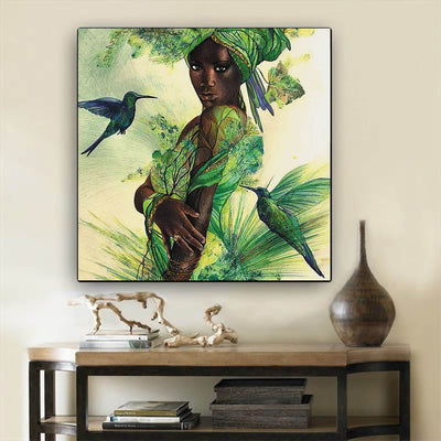 "BigProStore African American Canvas Art Cute Black Afro Lady African Canvas Afrocentric Decorating Ideas BPS67372 12"" x 12"" x 0.75"" Square Canvas"