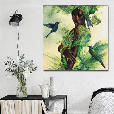 "BigProStore African American Canvas Art Cute Black Afro Lady African Canvas Afrocentric Decorating Ideas BPS67372 16"" x 16"" x 0.75"" Square Canvas"