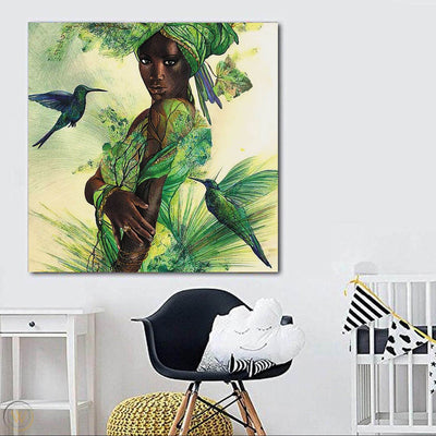 "BigProStore African American Canvas Art Cute Black Afro Lady African Canvas Afrocentric Decorating Ideas BPS67372 24"" x 24"" x 0.75"" Square Canvas"