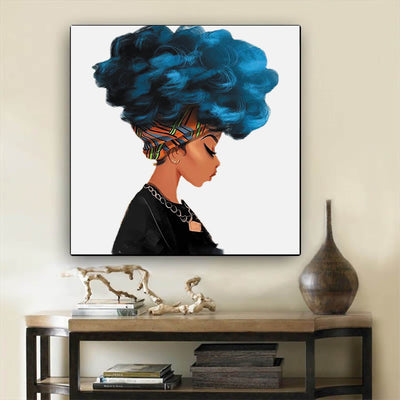 "BigProStore African American Canvas Art Cute Black American Woman Framed African Wall Art Afrocentric Living Room Ideas BPS21300 12"" x 12"" x 0.75"" Square Canvas"