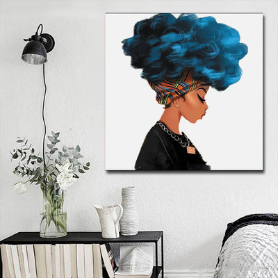 "BigProStore African American Canvas Art Cute Black American Woman Framed African Wall Art Afrocentric Living Room Ideas BPS21300 16"" x 16"" x 0.75"" Square Canvas"