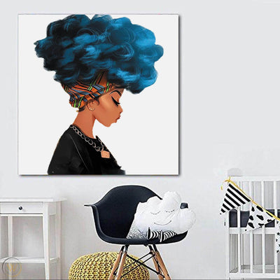 "BigProStore African American Canvas Art Cute Black American Woman Framed African Wall Art Afrocentric Living Room Ideas BPS21300 24"" x 24"" x 0.75"" Square Canvas"