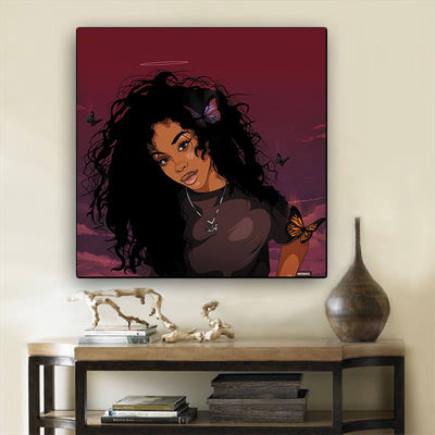 "BigProStore African American Canvas Art Cute Girl With Afro Modern African American Art Afrocentric Home Decor BPS44507 12"" x 12"" x 0.75"" Square Canvas"