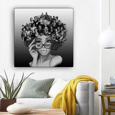 "BigProStore African American Canvas Art Cute Melanin Girl African American Framed Art Afrocentric Decorating Ideas BPS82863 12"" x 12"" x 0.75"" Square Canvas"