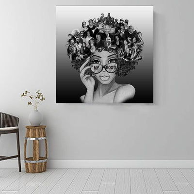 "BigProStore African American Canvas Art Cute Melanin Girl African American Framed Art Afrocentric Decorating Ideas BPS82863 16"" x 16"" x 0.75"" Square Canvas"