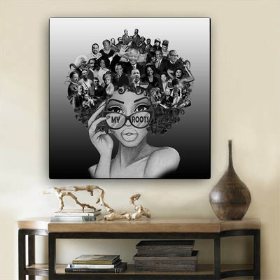 "BigProStore African American Canvas Art Cute Melanin Girl African American Framed Art Afrocentric Decorating Ideas BPS82863 24"" x 24"" x 0.75"" Square Canvas"