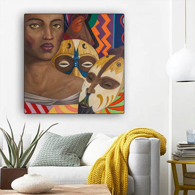 "BigProStore African American Canvas Art Pretty African American Woman Afrocentric Wall Art Afrocentric Decor BPS90766 12"" x 12"" x 0.75"" Square Canvas"